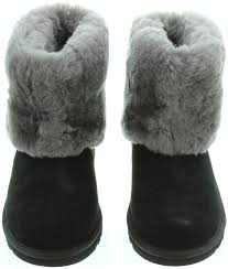 womens ugg australia ellee boots ugg ellee fur top boots in black in black