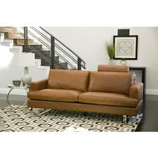 Camel Leather Sofa by Engage Tan Leather Mid Century Sofa Free Shipping Today