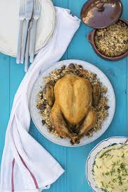 whole stuffed chicken with rice and chestnuts