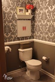 best 25 half bathroom wallpaper ideas on pinterest powder room half bath idea gray and white damask wallpaper w crown molding gray walls