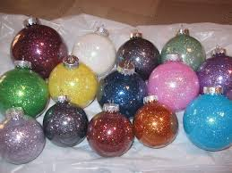 christmas ornaments made with glitter and pledge floor care in a