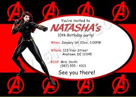 black widow birthday invitation printable