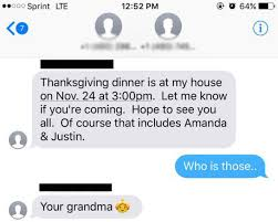 texts wrong about thanksgiving invites him anyway