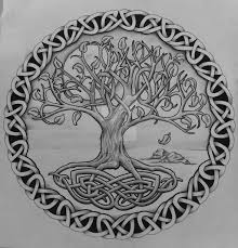 grey celtic tree of with rocks design by design