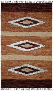 Striped Jute Rug St Croix St Croix Matador Diamonds Leather Chindi Lcd08 Brown