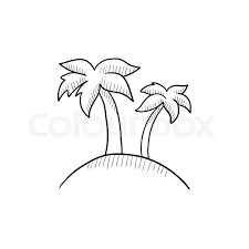 two palm trees on island vector sketch icon isolated on background
