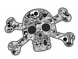jdm sticker bomb pirate style skull u0026 crossbones with b u0026 w jdm stickerbomb style