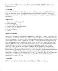 Technical Support Specialist Resume Sample by Professional Product Specialist Templates To Showcase Your Talent