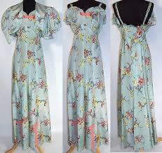 vintage blue floral pastel rayon taffeta dress gown and bolero jacket