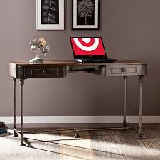 wood and metal writing desk elmore 2 drawer wood metal writing desk tobacco aiden lane target