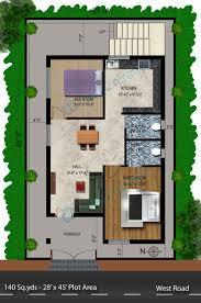 2bhk house plans 140 sq yds 28x45 sq ft west face house 2bhk floor plan jpg ideas