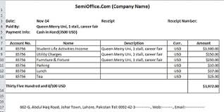 receipt template in excel free download