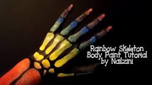 Halloween Skeleton Hands Rainbow Skeleton Hand Body Paint Tutorial Youtube