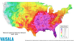 Weather Florida Map by Lightning Risk Map East Coast Lightning Equipment