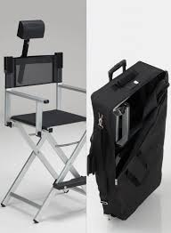 professional makeup artist chair aluminum makeup chair set with headrest and trolley bag