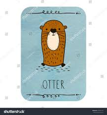 card otter on watercolor background stock vector 407001193