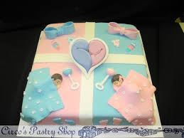 baby shower cake ideas for twin boy and boy and baby