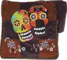 patchwork sugar skull shoulder bag
