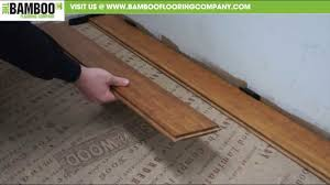 Youtube Laying Laminate Flooring How To Install Uniclic Bamboo Flooring Over Underlay Youtube