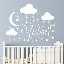 Boy Nursery Wall Decal Name Wall Decal Boy Clouds Nursery Decals Moon Decal
