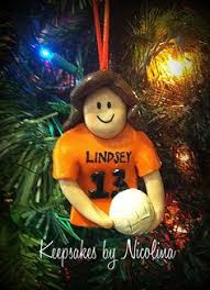volleyball christmas ornament personalized gift polymer clay