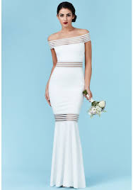 maxi wedding dress bardot fishtail maxi wedding dress in white