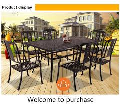 Aluminum Dining Room Chairs Cheap Black Cast Aluminum Dining Set Patio 6 Chairs And Long Table