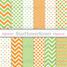 halloween background papers orange digital paper green polka dot chevron printable photography