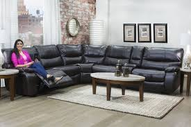 lotus brown 6 piece leather seating reclining sectional mor