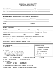 funeral planning guide funeral planning guide worksheet fill out online