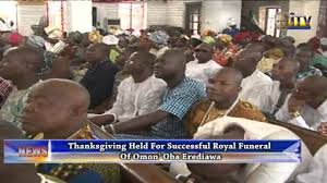 thanksgiving held for successful royal funeral of omo n oba