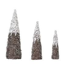 3 nested snow and silver glitter cone tree set reviews