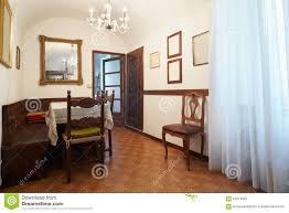 simple dining room interior in old house stock photo image
