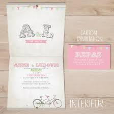 faire part mariage vintage faire part de mariage retro vintage tandem fanion sweet paper