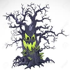terrible halloween cartoon tree with a grin isolated on white