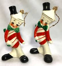 vintage 50s 60s candy cane lantern anthropomorphic christmas