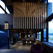 villa design dining space and kitchen design in timber villa design by takeshi