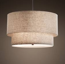 Rh S Two Tier Round Linen Shade Pendant Our Elegant Fabric Shade