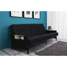 Futon Frame And Mattress Mainstays Fairview Storage Arm Futon With 6 Mattress Black