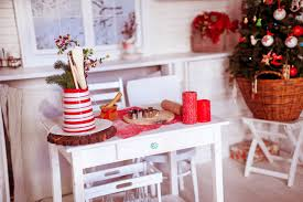 christmas decorations on table free stock photo
