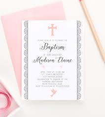 Christening Invite Cards Lace Border Baptism Invitation Elegant Baptism Invitation