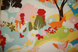 Upholstery Fabric With Birds Oh Deer Modern Contemporary Bright Floral Deer Forest Birds