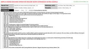 Machine Operator Job Description Resume by Sewing Machine Operator Job Title Docs