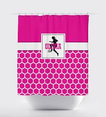 Pink Black And White Shower Curtain Custom Hexagon Soccer Player Shower Curtain W Name Girls U2013 Shop