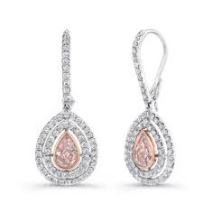 pink diamond earrings natureal collection platinum 18k white gold pear shaped pink
