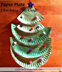 a paper plate tree crafting with kid