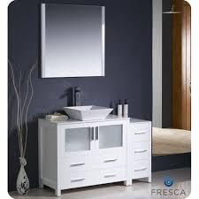 fresca torino 48 inch white modern bathroom vanity with side