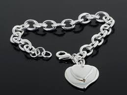silver bracelet with heart pendant images Chain bracelet silver jpg