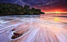 beaches sky ray forest roar reflection beach storm sea wave