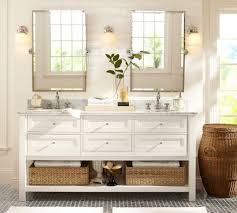 pottery barn bathrooms ideas pottery barn bathroom ideas with silver framed pivot mirrors using